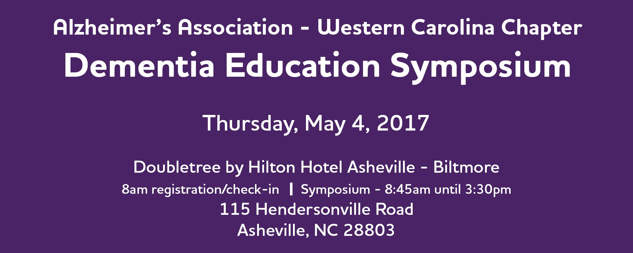 Dementia Education Symposium Banner 2. Asheville 2017