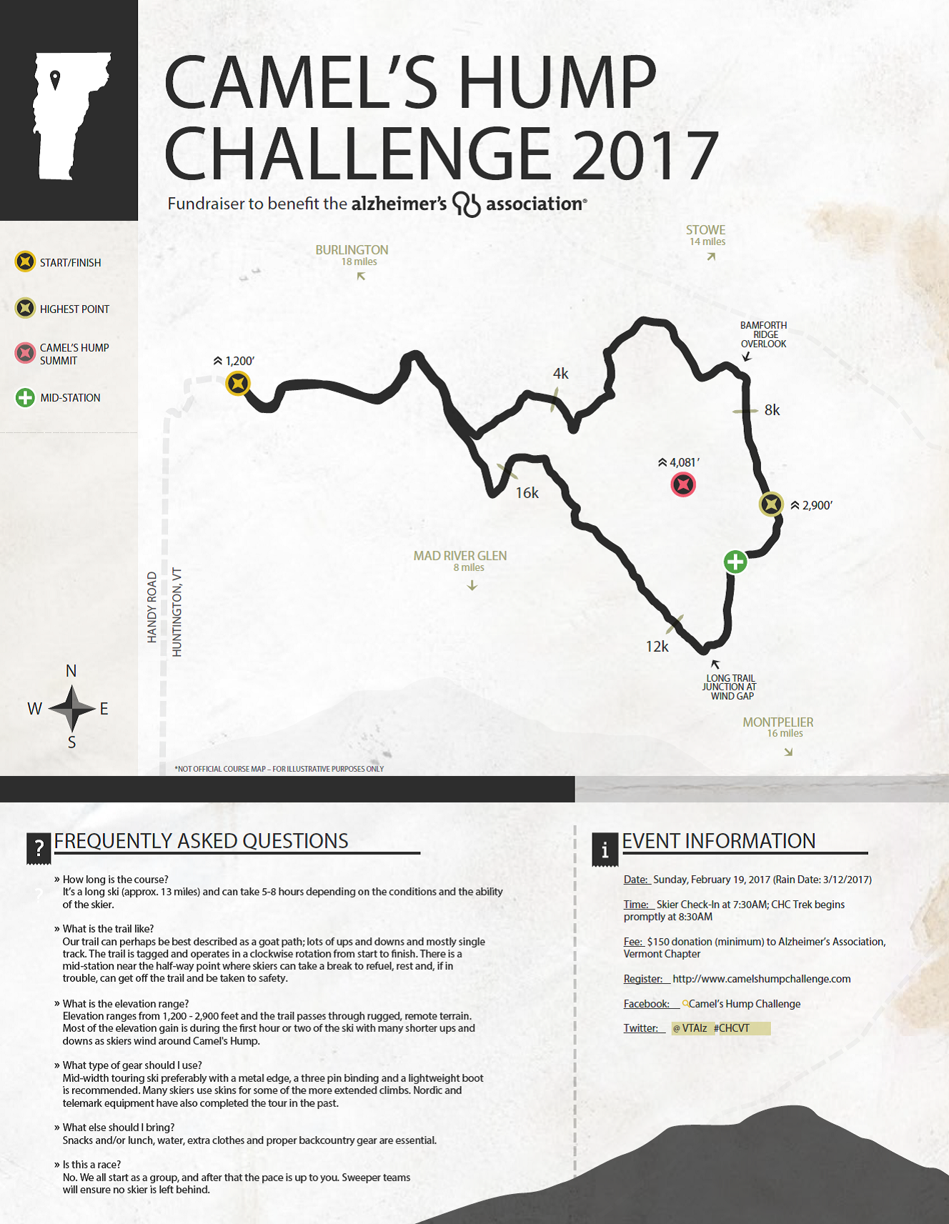 2017 CHC Camel's Hump Challenge map picture