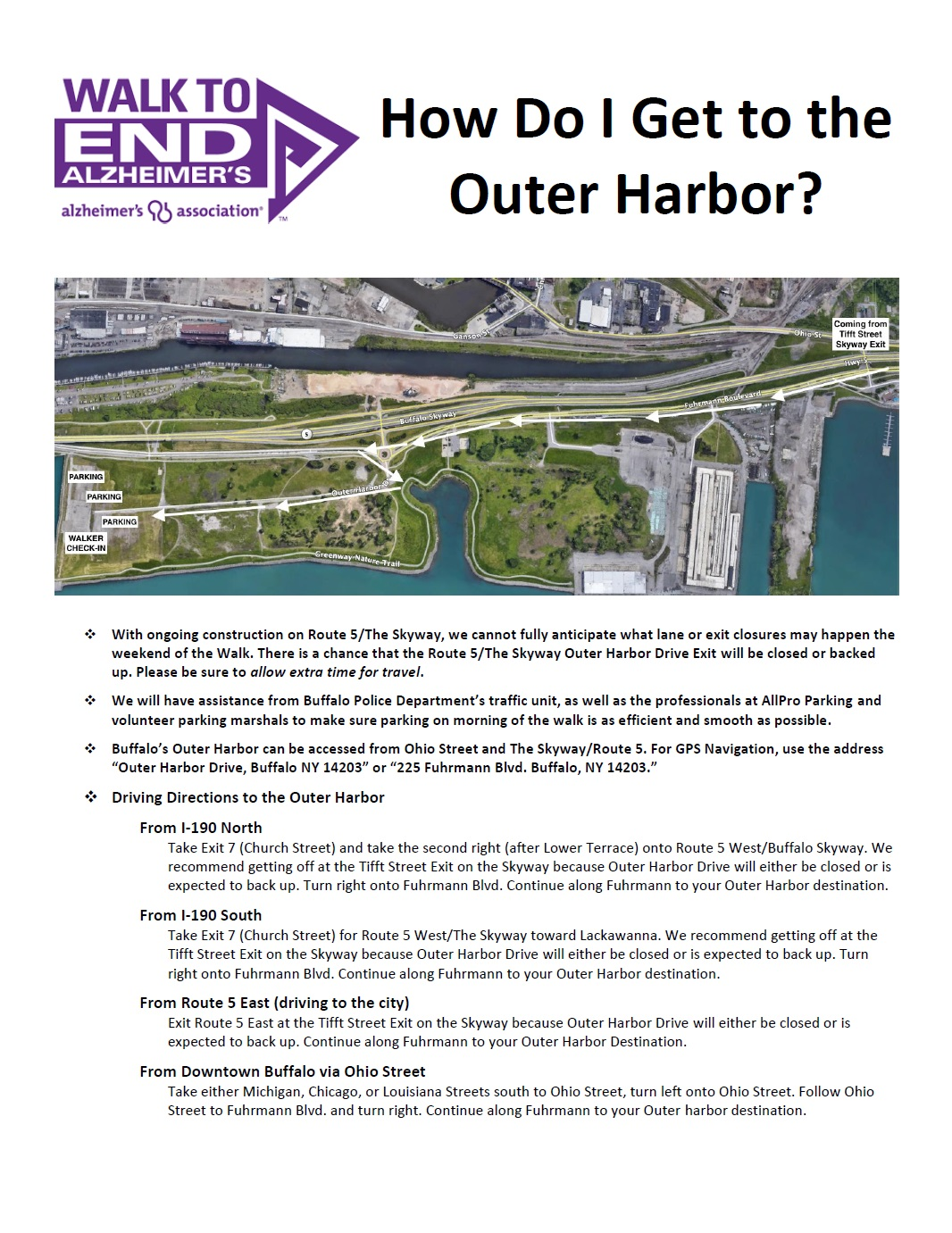 Parking Directions to the Outer Harbor