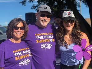 Zimmer Law Firm Founder, Barry Zimmer, with his wife and daughter at the 2019 Walk to End ALZ. They walk in honor of Barry's mother.